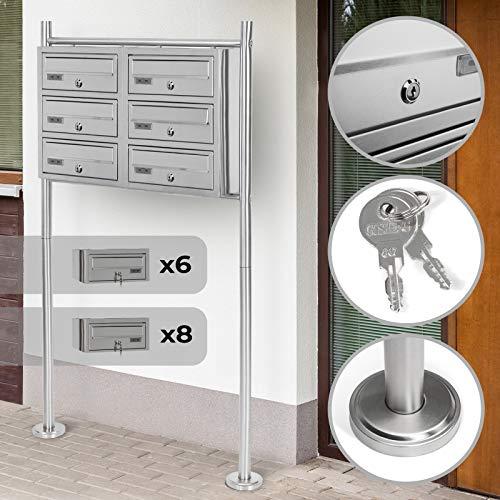 Stand-Briefkastenanlage - mit Namensschilder, Schlüssel, Abschließbar, Größenwahl 5/6/8, Geräumige Postfächer, Freistehende - Standbriefkasten, Postkasten, Designer Mailbox, Letterbox