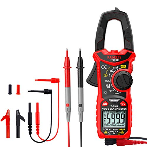 KAIWEETS DC Digital Clamp Meter T-RMS 6000 Counts, Multimeter Voltage Tester Auto-ranging, Measures Current Voltage Temperature Capacitance Resistance Diodes Continuity Duty-Cycle with Soft Silicone E