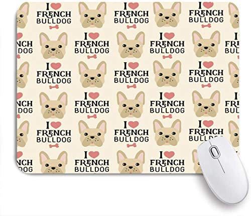 Dekoratives Gaming-Mauspad,Knochenliebe Französische Bulldogge Mops Tiere Wildlife Breed Pet Canine Companion Continuity Dog,Bürocomputer-Mausmatte mit rutschfester Gummibasis