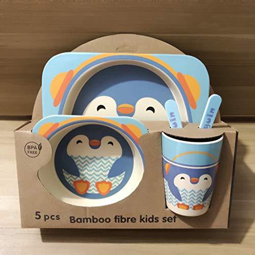 Couverts pour enfants en fibre de bambou Set de bande dessinée créative de grille plaque cuillère cuillère tasse Cinq pièces ensemble équilibre bébé régime de sécurité et de protection, Pingouin
