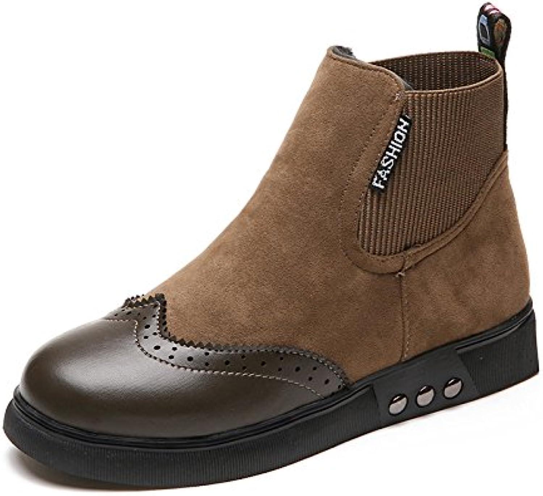 WYMBS Women's shoes Flat Plush Round Head Keep Warm Short Boots,Khaki,38