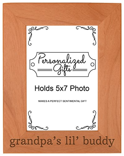 Personalized Gifts Grandpa Gift Grandpa's Lil' Buddy Grandson Natural Wood Engraved 5x7 Portrait Picture Frame Wood