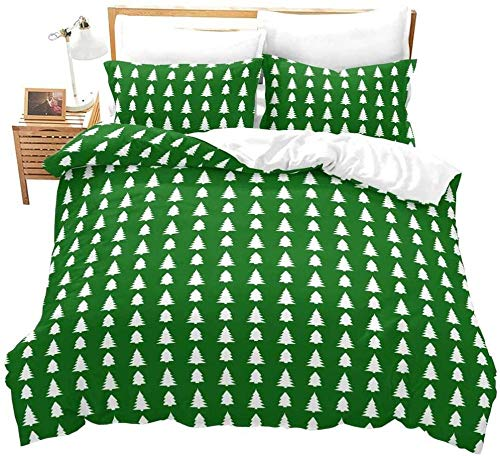 Zooseso Green minimalist fashion christmas tree pattern Print Duvet Cover Set Super King size King Size Bed Kingsize 3D Effect Quilt Bedding Sets with Pillow Cases Cotton, 260 x 230 cm -Adult