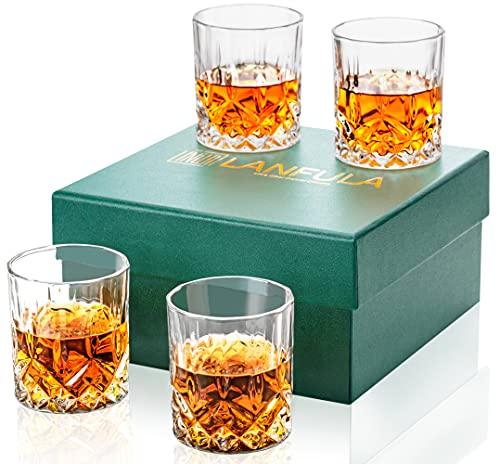 LANFULA Old Fashioned Whiskey Glasses, Set of 4 Premium Crystal Cocktail Tumbler for Bourbon Scotch Whisky Cognac, 10 Oz