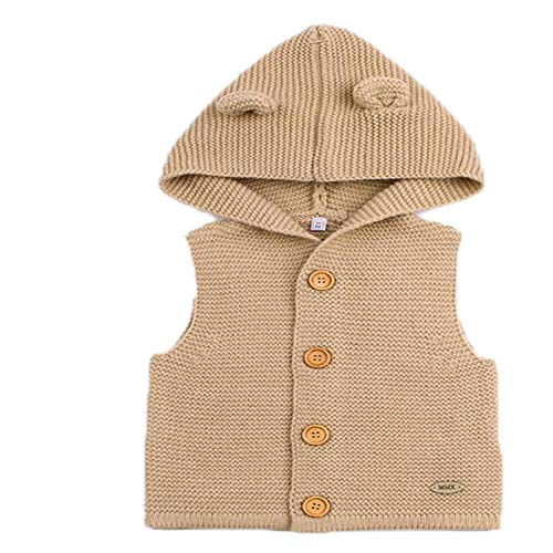 New Baby Sweaters Boy Girl Cardigan Cartoon Bear Ear Hooded Jackets Autumn Kids Knitted Clothes Brown 12M