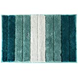 Non Slip Bath Mat Fluffy Microfiber Bathroom Mat Gradient Blue&Green Bedside Rug Carpet Floor Mat Dry Fast Water Absorbent Soft Kitchen Rugs 45x65 cm Machine Washable