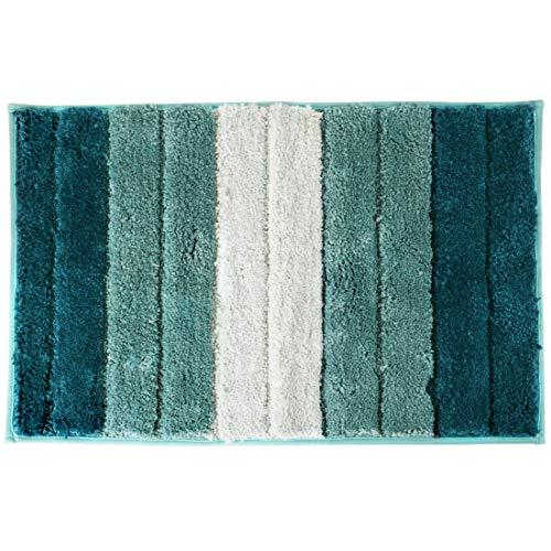 Alfombra de baño, Alfombra Absorbente Antideslizante, Alfombra de baño de Microfibra esponjosa, Alfombra de Baño Antideslizante, Lavable a máquina(Azul-Verde Degradado-Microfibra, 45x65cm)