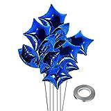 Globos de 25 piezas de 18 pulgadas con forma de corazón para la decoración del compromiso de boda, cumpleaños, San Valentín, decoración de fiesta de boda (estrella azul)