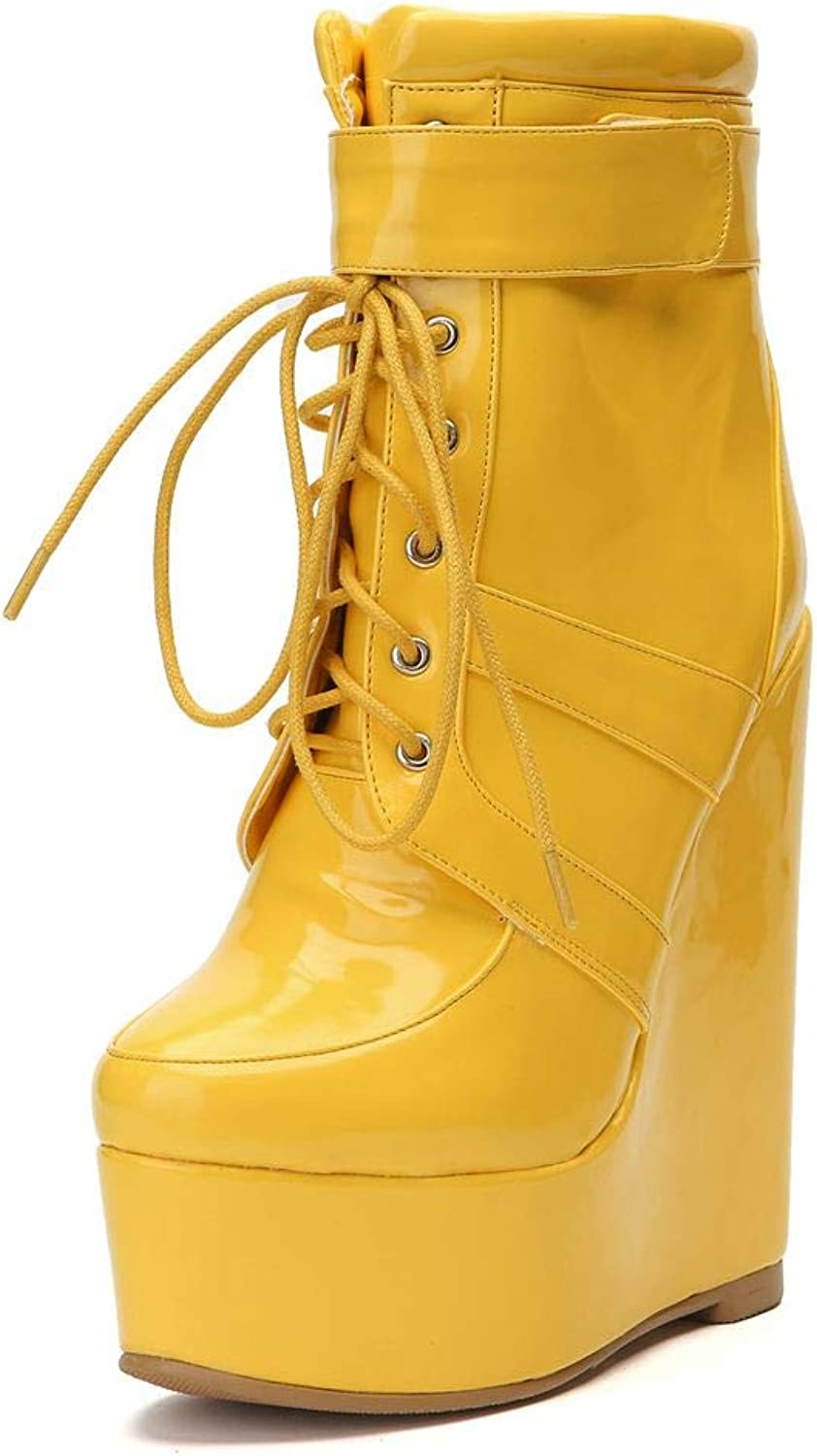 DoraTasia Women's High Top Platform Wedges Ankle Boots Lace-up High Heel Booties