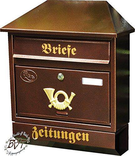 BTV Briefkasten, groß XXL, Premium-Qualität, lackiert, Hammerschlag-Optik Walmdach W/c Kupfer kupferfarben braun + Zeitungsfach Zeitungsrolle Postkasten