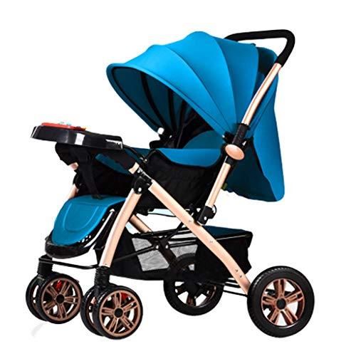 Jixi Cochecito de bebé Ligero y Plegable con la Cubierta del pie Portavasos Mosquitero Portabebés Amortiguador Cochecito de niño (Color : E)