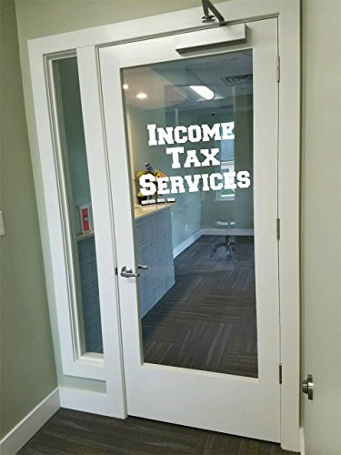 Income TAX services taxes preparation Storefront signage window decor Vinyl Decal
