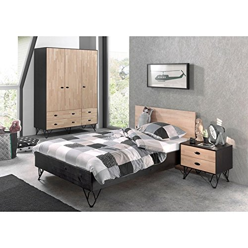 Lomadox Jugendzimmer Set Korpus massiv schwarz, Front Birke massiv natur lackiert, 120x200 cm Jugendbett, Nachttisch und 150cm Kleiderschrank