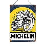Michelin Pneumatici (Bike)–Replica Vintage Metal Wall Sign Retro Pub Bar Mancave Garage, Metallo, 14x20cm (Twine/String)