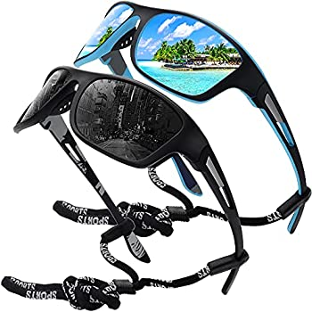 MEETSUN Polarized Sports Sunglasses for Men Fishing Cycling Baseball Running and Driving UV400 Protection 2 Pack Black + Blue Mirrored Lens