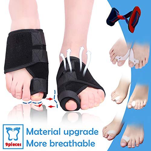Bunion Corrector and Toe Separators Suit,Treat Pain in Hallux Valgus,Orthopedic Bunion Splint,Adjustable Orthopedic Big Toe Straighteners Foot,Big Toe Exercise Strap,Overlapping Toe, Toe Spacers,9Pcs