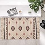 Tufted Cotton Area Rug 2' x 3', KIMODE Woven Fringe Throw Rugs Print Tassel Rugs Carpet Modern Southwest Welcome Door Mat Machine Washable Floor Runner Rug for Porch Kitchen Bathroom Living Room