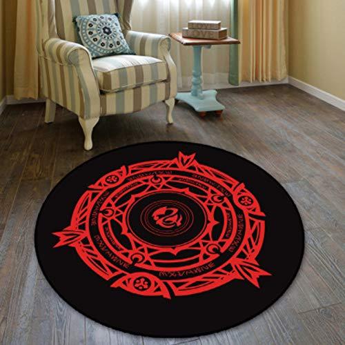 chengcheng Runde Bodenmatte Magic Array Zweidimensionale Schlafzimmer Studie Dekoration Teppich Trommel Bodenteppich Stuhl Pad 100cm
