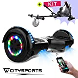 CITYSPORTS Balance Board 6.5 Pulgadas, Self Balance Scooter Patinete Elctrico, Ruedas de Led Luces, Bluetooth, Motor 700W