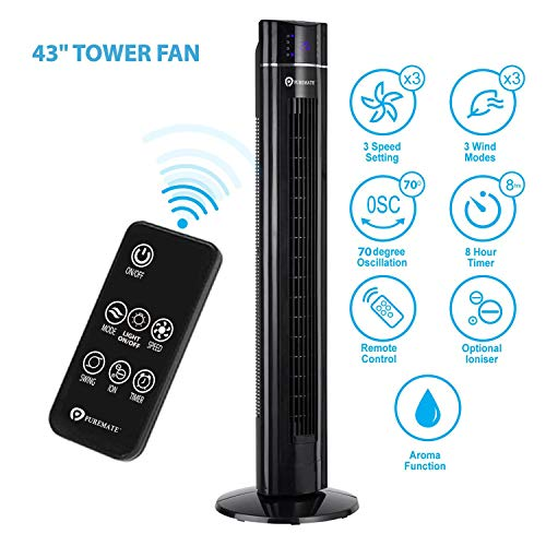 PureMate 43-inch Oscillating Tower Fan with Ioniser and Aroma Function - 60W...