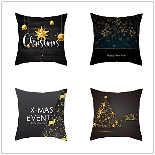 Set of 4 Pcs Throw Pillow Case Cushion Covers Christmas Decoration Velvet Soft Superfine Fiber Square Decorative Throw Pillowcases for Living Room Sofa Car with Concealed Zip E5088 55x55cm/21.5x21.5in