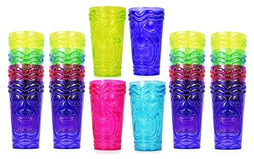 Set of 24 Party Tiki Cups! BPA Free 16 Ounce Tumbler Drinkware Set Luau Shape! 4 Bright Colors! Tiki Mugs! Reusable Plastic Party Cups!