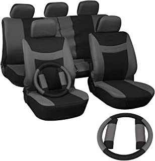 SCITOO Universal Grey/Black Car Seat Covers W/Steering Wheel Cover 12PCS Breathable Mesh Cloth Seat Cushion Replacement for Most Cars