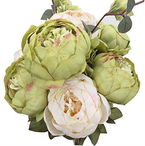 XIUER Flores artificiales, peonías, ramo, decoración para bodas