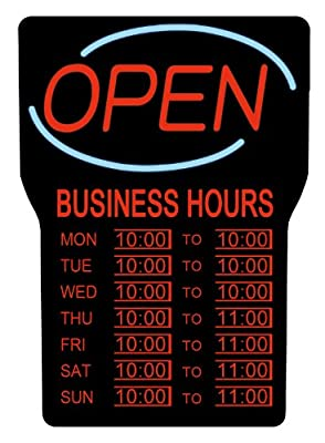 """Royal Sovereign Illuminated LED Business """"Open"""" Sign with Hours (RSB-1342E),Black Frame, Red Writing and Blue Wave Detail"""
