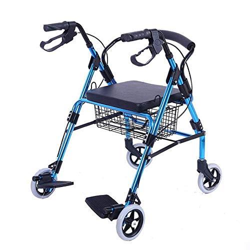 XLYAN Freno Pieghevole Chiudibile A Pedale in Alluminio Leggero con Comodi Pedali dello Schienale E Cuscini Impermeabili in Pelle Resistono A Un Peso di 200 kg,Blue
