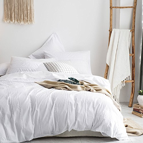 Merryfeel Duvet Cover Set,100% Cotton Woven Textured Stripe Duvet Cover with Pillowshams,3 Pieces Bedding Set-White Stripe Full/Queen