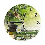 Meili Shop Pintura de Arte de Reloj de Pared de acrílico Redondo de bambú Zen Stone...
