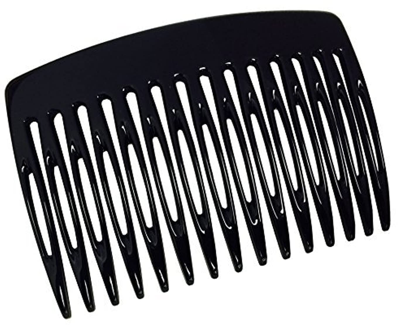 複製管理富Parcelona French Nice N Simple 2 Pieces Cellulose Acetate Glossy Black 7 Cm Side Hair Comb Combs [並行輸入品]