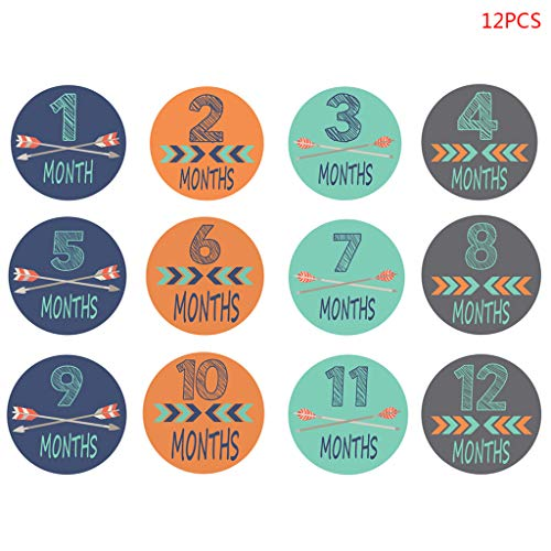 JunYe 12 stuks/Set 1-12 maanden stickers baby fotografie Milestone Memorial Monthly Born Kids Commemorative Card Number Photo Props