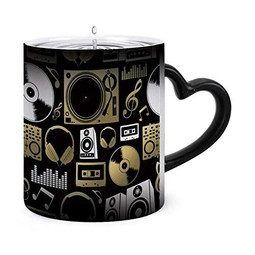 Concepto de patrón sin costuras hecho con iconos - Tazas morphing de 11 oz Taza sensible al calor Taza de té de café que cambia de color de cerámica ndash Modelo36136