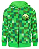Minecraft Childrens/Boys Creeper Character Hoodie (Years (7-8)) (Pixel Green)