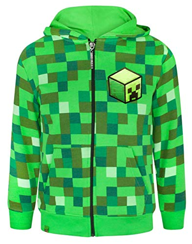 Minecraft Creeper Boy's Hoodie (11-12 Years), Grün