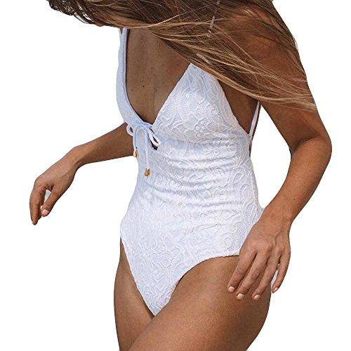 FRAUIT dames kanten badjurk achterlopen badpak - slim badmode met beugel Jumpsuit Push-Up gewatteerde BH strand bikini eendelig sexy badkleding wit
