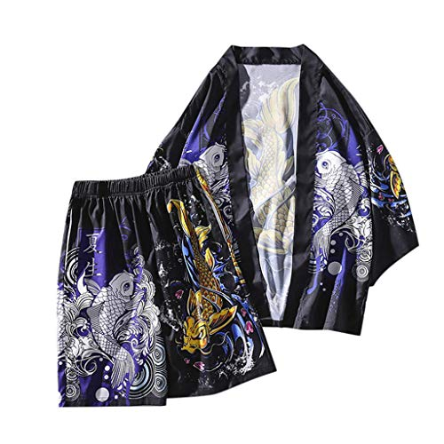 Fashion 2-Piece Suit for Men, SFE Men's Printed Spa Service Pajamas Home Service Set Kimono Hot Spring Clothing Black