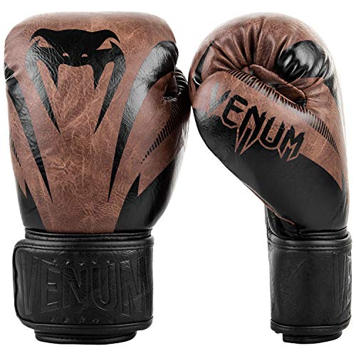 Venum Unisex-Adult Impact Boxhandschuhe, Schwarz/braun, 14 oz
