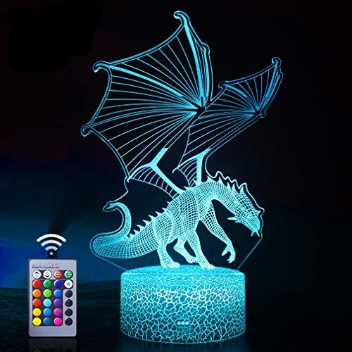 WHATOOK Lámpara de dragón, luz nocturna de dragón volador, control remoto y 16 colores ilusión dragón luz mejor regalo para niños