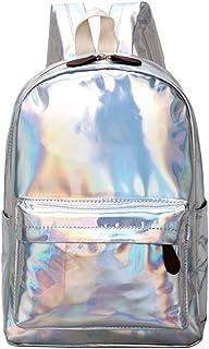 Borsa a spalla scuola zaino riflettente moda stile riflettente argento