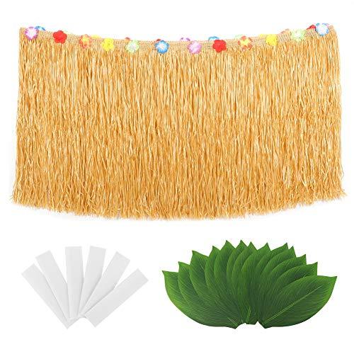 Tropisch rietje, blad, kruidenrok, Hawaï, tafelkleed, accessoires voor feestjes, perfecte decoratie voor het Hawaïaanse zwembad, feesten, thema: tropisch #1