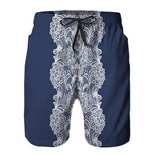 Hombres Verano Secado rápido Pantalones Cortos Playa Fondo Floral de Encaje sin Costuras tapete Vintage Trajes de baño Correr Surf Deportes-XL
