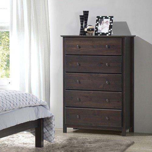 Grain Wood Furniture Shaker 5-drawer Espresso Finish Solid Wood Chest