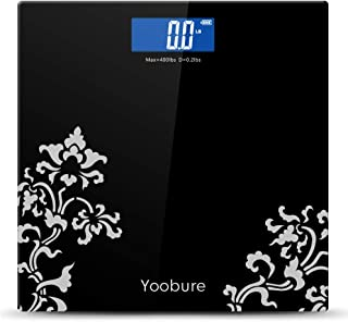 Yoobure Digital Body Weight Scale with Step-On Technology, High Precision Bathroom Scale 6mm Tempered Glass Easy Read Backlit LCD Display, 400 Pounds