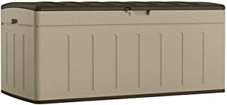 Suncast 99-Gallon Large Deck Box - Lightweight Resin Indoor/Outdoor Storage Container and Seat for Patio Cushions, Gardening Tools and Toys - Store Items on Patio, Garage, Yard - Brown