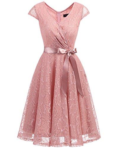 DRESSTELLS Elegant Spitzenkleid Knielang V-Ausschnitt Brautjungfernkleid Cocktailkleid Abendkleider Blush 2XL