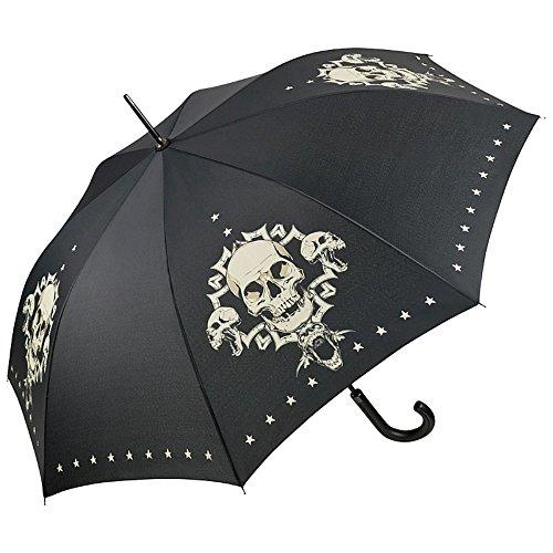 VON LILIENFELD® Ombrello Pioggia Lungo Classico Automatico Donna Uomo Teschio Skull