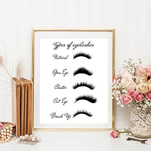 EBONP Dekorative Malerei Geschenk Make-up Poster und Drucke von verschiedenen Formen von Augenbrauen Frauen Geschenk für Mädchen Mode Wandkunst Malerei auf Leinwand Beauty-Salon Dekoration-24x32inch